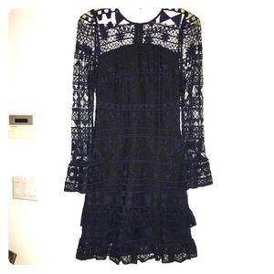 Parker Navy & Black Lace Zip Back Tiered Dress